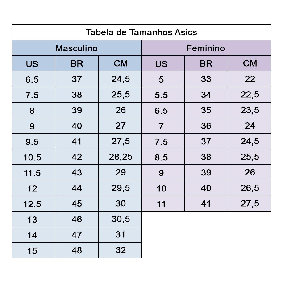 Tabela de tamanhos Asics - Ativa Esportes