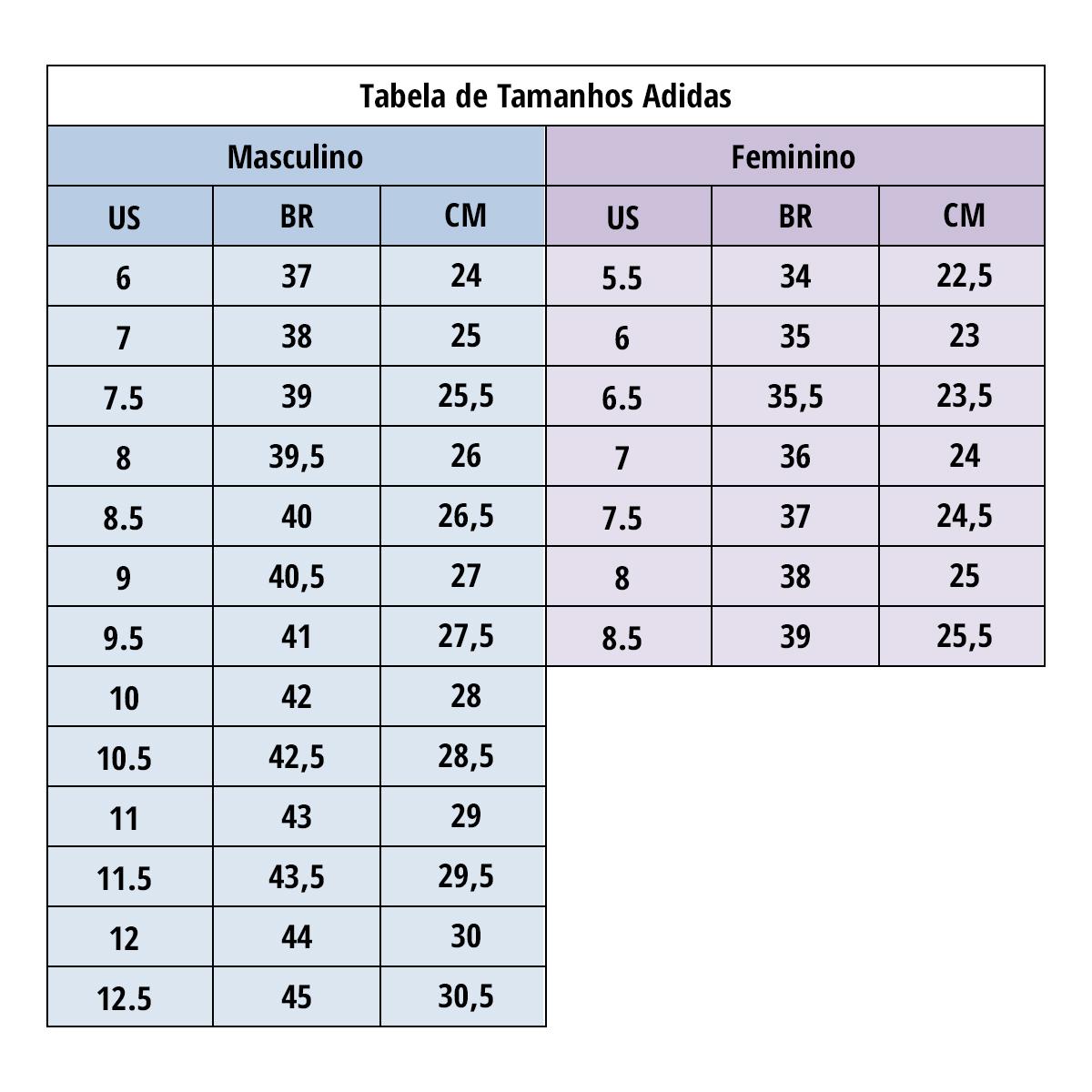 Tabela de tamanhos Adidas - Ativa Esportes